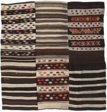 Kilim Patchwork Rug 201X210 Authentic  Modern Handwoven Square Dark Brown/Light Brown (Wool, Turkey)