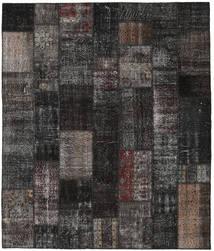 Patchwork Matto 252X298 Moderni Käsinsolmittu Musta/Tummanharmaa Isot (Villa, Turkki)