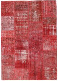 Patchwork Matto 161X231 Moderni Käsinsolmittu Tummanpunainen/Punainen (Villa, Turkki)