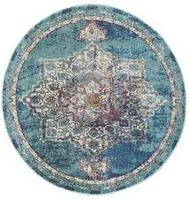 Balmoral - Petrol Blue Rug Ø 150 Modern Round Light Grey/Blue ( Turkey)