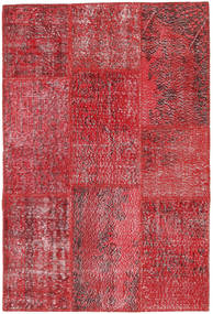 Patchwork Matto 121X181 Moderni Käsinsolmittu Punainen/Pinkki (Villa, Turkki)