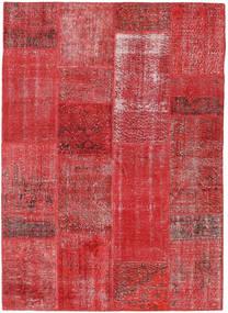 Patchwork Teppich  161X226 Echter Moderner Handgeknüpfter Dunkelrot/Rost/Rot (Wolle, Türkei)