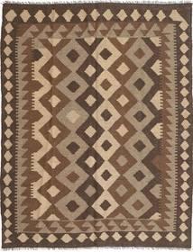Kelim Maimane Teppich  156X200 Echter Orientalischer Handgewebter Braun/Dunkelbraun (Wolle, Afghanistan)