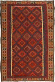 Kilim Maimane Rug 6′7″x9′11″ Authentic  Oriental Handwoven Dark Red/Brown (Wool, Afghanistan)