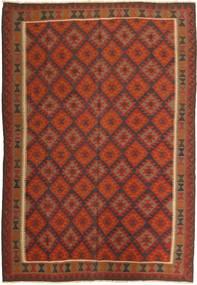 Kelim Maimane Matto 202X289 Itämainen Käsinkudottu Tummanpunainen/Tummanruskea (Villa, Afganistan)