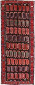 Hamadan Patina Vloerkleed 155X395 Echt Oosters Handgeknoopt Tapijtloper Donkerrood/Zwart (Wol, Perzië/Iran)