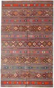 Kelim Turkki Matto 196X327 Itämainen Käsinkudottu Tummanpunainen/Tummanharmaa/Vaaleanharmaa (Villa, Turkki)