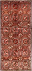 Hamadan Matta 125X305 Äkta Orientalisk Handknuten Hallmatta Mörkröd/Roströd (Ull, Persien/Iran)