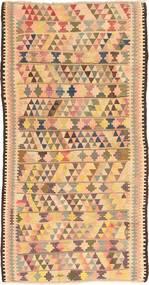 Kelim Fars Matto 144X295 Itämainen Käsinkudottu Käytävämatto Tummanbeige/Vaaleanpunainen (Villa, Persia/Iran)