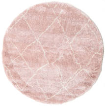 Shaggy Agadir - Soft Rose/Off-White Covor Ø 200 Modern Rotund Roz Deschis ( Turcia
