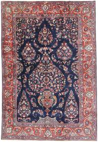 Sarough Matta 193X290 Äkta Orientalisk Handknuten Mörklila/Ljuslila (Ull, Persien/Iran)