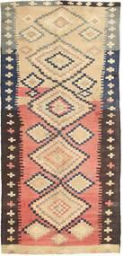 Kelim Fars Teppich 135X295 Echter Orientalischer Handgewebter Läufer Dunkelbraun/Beige (Wolle, Persien/Iran)