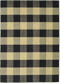 Check Kilim - Black/Gold Rug 210X290 Authentic  Modern Handwoven Black/Dark Grey/Olive Green (Wool, India)