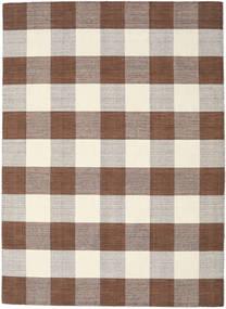 Check Kilim - Braun/Weiß Teppich  210X290 Echter Moderner Handgewebter Braun/Hellgrau/Beige (Wolle, Indien)