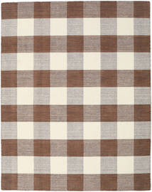 Check Kilim - Brown/White Rug 190X240 Authentic  Modern Handwoven Light Grey/Brown (Wool, India)
