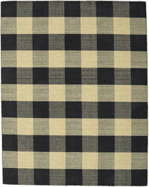 Check Kilim - Black/Gold Rug 190X240 Authentic  Modern Handwoven Black/Dark Grey (Wool, India)