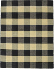 Check Kilim - Black/Gold Rug 240X300 Authentic  Modern Handwoven Black/Dark Grey (Wool, India)