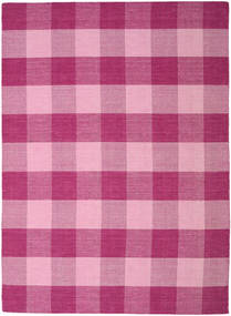 Check Kilim Rug 240X340 Authentic  Modern Handwoven Pink/Light Pink/Purple (Wool, India)