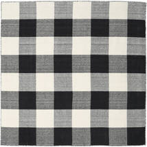 Check Kilim - Black/White Rug 200X200 Authentic  Modern Handwoven Square Dark Grey/Beige (Wool, India)