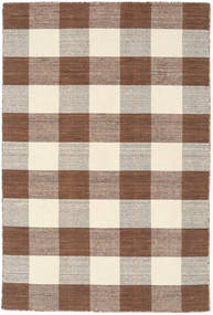 Check Kilim - Brown/White Rug 120X180 Authentic  Modern Handwoven Brown/Light Grey/Light Brown (Wool, India)