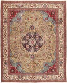 Tabriz Patina Tapijt 306X380 Echt Oosters Handgeknoopt Lichtbruin/Bruin Groot (Wol, Perzië/Iran)