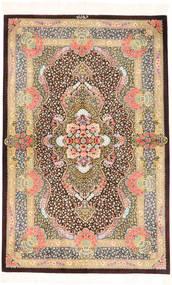 Kom Jedwab Dywan 100X155 Orientalny Tkany Ręcznie Jasnobrązowy/Jasnoróżowy (Jedwab, Persja/Iran)