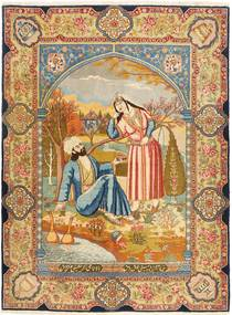 Tabriz Tapijt 141X193 Echt Oosters Handgeknoopt Lichtbruin/Bruin (Wol, Perzië/Iran)