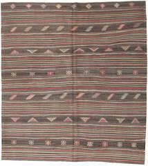 Kelim Turkisk Matta 218X242 Äkta Orientalisk Handvävd Mörkbrun/Ljusbrun (Ull, Turkiet)