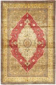 Ghom Zijde Tapijt 105X160 Echt Oosters Handgeknoopt Lichtbruin/Bruin (Zijde, Perzië/Iran)