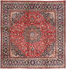Mashad Matto 282X295 Itämainen Käsinsolmittu Neliö Tummanharmaa/Tummanpunainen Isot (Villa, Persia/Iran)