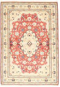 Yazd Matto 98X140 Itämainen Käsinsolmittu Beige/Vaaleanpunainen (Villa, Persia/Iran)
