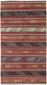 Kelim Turkije Tapijt 180X320 Echt Oosters Handgeweven Donkerrood/Donkergrijs (Wol, Turkije)