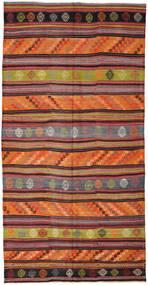 Kelim Turkisk Matta 180X354 Äkta Orientalisk Handvävd Mörkröd/Orange (Ull, Turkiet)