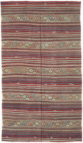 Kelim Turkisk Matta 175X310 Äkta Orientalisk Handvävd Brun/Mörkgrå (Ull, Turkiet)