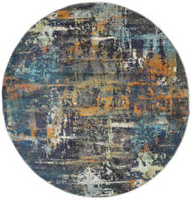 Castor - Multi/Teal Tone Rug Ø 200 Modern Round Dark Grey/Light Grey ( Turkey)