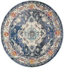 Leia - Niebieski Dywan Ø 200 Nowoczesny Okrągły Jasnoszary/Ciemnoszary ( Turcja)