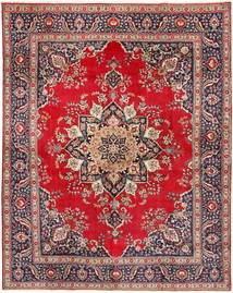 Tabriz Rug 305X380 Authentic  Oriental Handknotted Crimson Red/Light Brown Large (Wool, Persia/Iran)