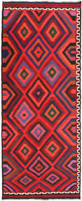 Kilim Fars Rug 150X375 Authentic  Oriental Handwoven Dark Purple/Dark Red/Orange (Wool, Persia/Iran)