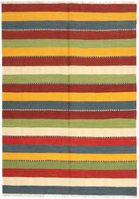 Kilim Rug 140X198 Authentic  Oriental Handwoven Dark Red/Light Green (Wool, Persia/Iran)
