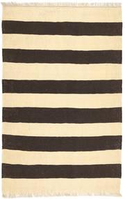 キリム 絨毯 96X146 モダン 手織り 廊下 カーペット ベージュ/濃いグレー (ウール, インド)