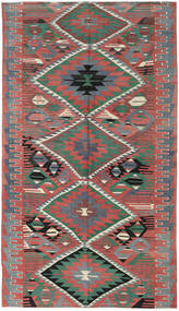 Kilim Turkish Rug 180X320 Authentic  Oriental Handwoven Rust Red/Dark Grey (Wool, Turkey)