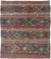 Kelim Turkisk Matta 201X227 Äkta Orientalisk Handvävd Mörkgrå/Svart (Ull, Turkiet)
