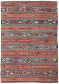 Kelim Turkisk Matta 180X258 Äkta Orientalisk Handvävd Mörkgrå/Orange (Ull, Turkiet)