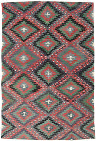 Kilim Turkish Rug 184X273 Authentic  Oriental Handwoven Rust Red/Black (Wool, Turkey)