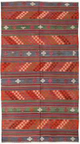 Kelim Turkisk Matta 168X296 Äkta Orientalisk Handvävd Mörkgrå/Roströd (Ull, Turkiet)