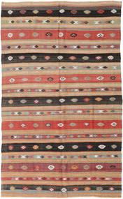 Kelim Turkisk Matta 160X268 Äkta Orientalisk Handvävd Ljusbrun/Mörkbrun (Ull, Turkiet)