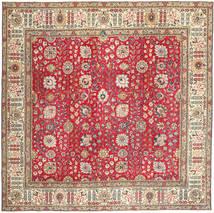 Tabriz Patina Matta 277X286 Äkta Orientalisk Handknuten Kvadratisk Roströd/Mörkbrun Stor (Ull, Persien/Iran)