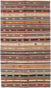 Kelim Turkki Matto 153X268 Itämainen Käsinkudottu Vaaleanruskea/Tummanruskea (Villa, Turkki)