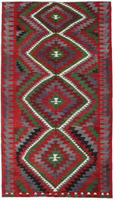 Kilim Turkish Rug 187X337 Authentic  Oriental Handwoven Dark Grey/Crimson Red (Wool, Turkey)