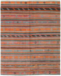Kelim Turkisk Matta 190X232 Äkta Orientalisk Handvävd Mörkgrå/Orange (Ull, Turkiet)